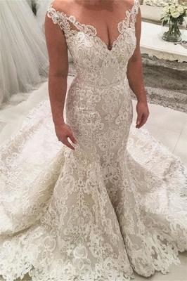 Brautkleid Meerjungfrau V Ausschnitt | Hochzeitskleider mit Spitze