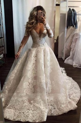 Fahison A-Line Sleeved Wedding Dresses | Bridal Fashion Cheap Online_1