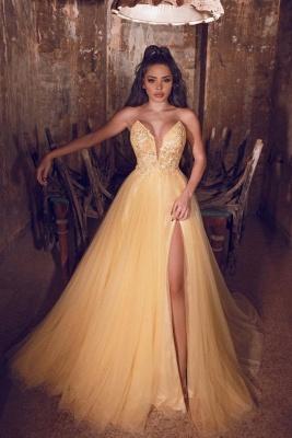 Gelb Abendkleider Lang Günstig | Abiballkleider Online Kaufen