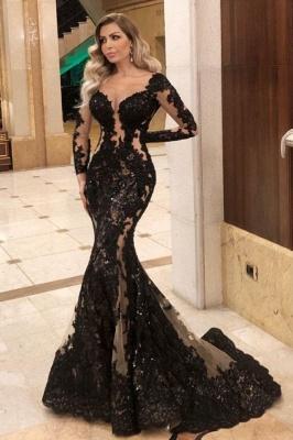Schwarze Abendkleider mit Ärmel | Spitze Abendmoden Online