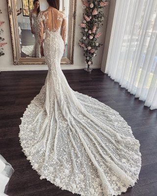 Designer wedding dresses mermaid with sleeves | Buy lace wedding dress online_2