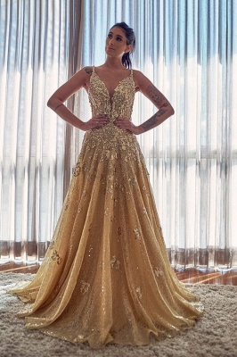 Abendkleider Lang Glitzer | Abiballkleider Gold mit Spitze