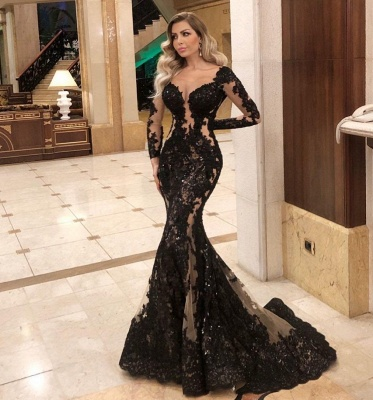 Black evening dresses with sleeves | Top evening wear online_2
