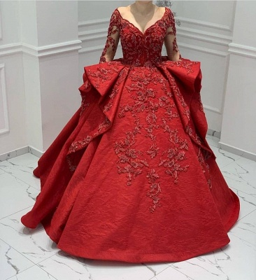 Designer Abendkleider Lang Rot | Abiballkleider Mit Spitze Ärmel_2