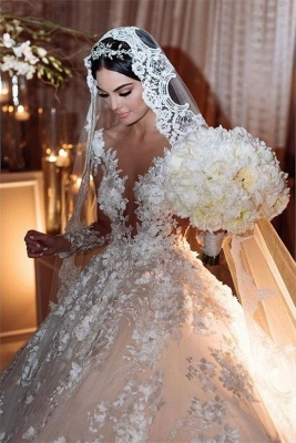 Luxury wedding dresses princess | Cheap bridal wear with lace_3