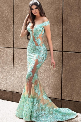 Elegant evening dresses long green | Prom dresses with lace_1