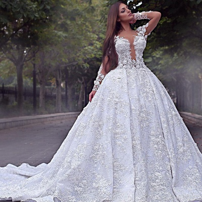 Luxury wedding dress with sleeves | Lace wedding dress A line_2