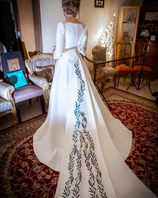 Schlichte Hochzeitskleider mit Ärmel | Brautkleid A Linie Satin_4
