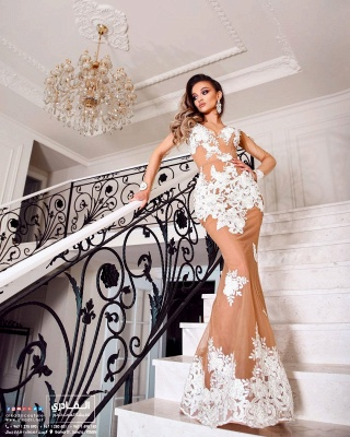 Beautiful evening dresses with sleeves | Long lace prom dresses_2
