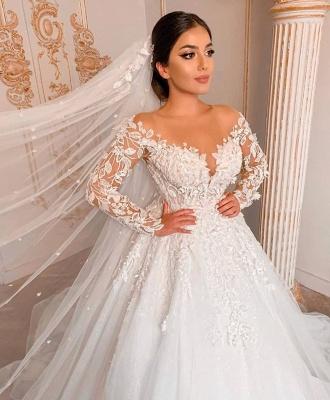 Wunderschöne Hochzeitskleider mit Ärmel | Spitze Brautkleid Prinzessin_3