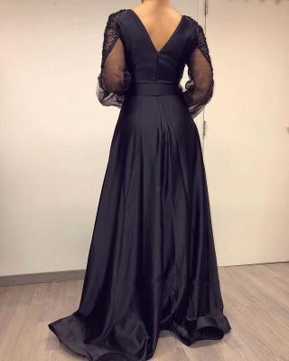 Elegante Abendkleider Lang Schwarz | Abiballkleider mit Ärmel_3