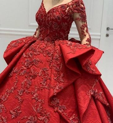Designer Abendkleider Lang Rot | Abiballkleider Mit Spitze Ärmel_4