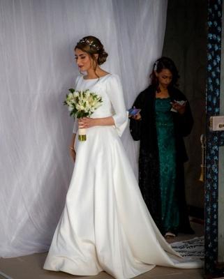 Schlichte Hochzeitskleider mit Ärmel | Brautkleid A Linie Satin_5