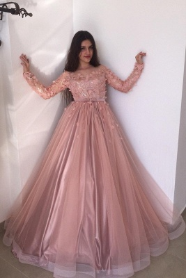 Evening dresses long pink | Prom dresses with sleeves_1