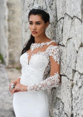 Schlichte Brautkleider Meerjungfrau | Spitze Ärmel Hochzeitskleider Online_2