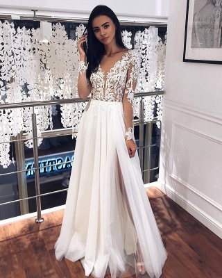 Simple wedding dresses with sleeves | Chiffon wedding dress with lace_2