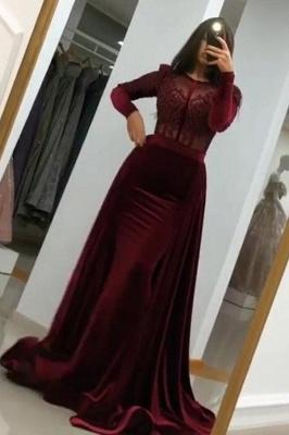 Weinrot Abendkleider mit Ärmel | Elegante Abendmoden Velvet Online