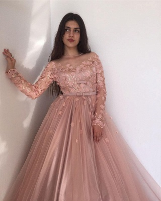 Evening dresses long pink | Prom dresses with sleeves_4