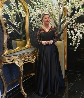 Black Mother of the Bride Dress Cheap | Long mother of the bride dresses with sleeves_4