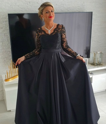 Black Mother of the Bride Dress Cheap | Long mother of the bride dresses with sleeves_2