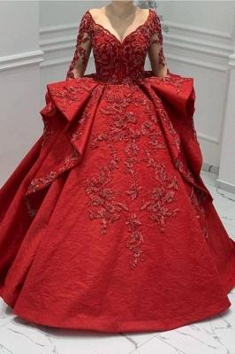 Designer Abendkleider Lang Rot | Abiballkleider Mit Spitze Ärmel_1