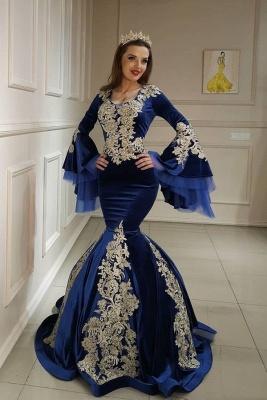 Blau Abendkleider mit Ärmel | Velvet Abiballkleider mit Spitze