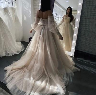 Schlichte Brautkleider A linie | Hochzeitskleider mit Ärmel_4