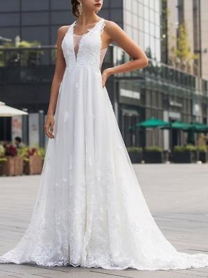 Brautkleider V Ausschnitt | Hochzeitskleid Mit Spitze A Linie_3