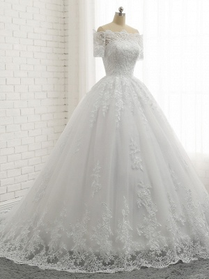 Beautiful wedding dresses short sleeves | Bridal A line with lace_5