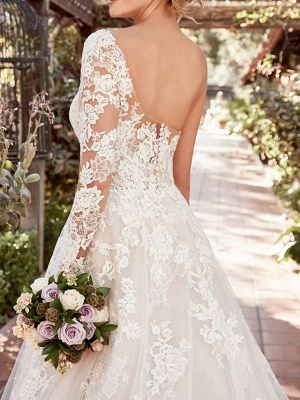 Beautiful wedding dresses with sleeves | Lace wedding dress A line_2