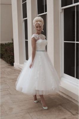 Vintage wedding dresses short | A line wedding dresses with lace_2