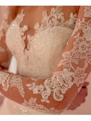 Elegant wedding dress A line | Lace wedding dresses with sleeves_2