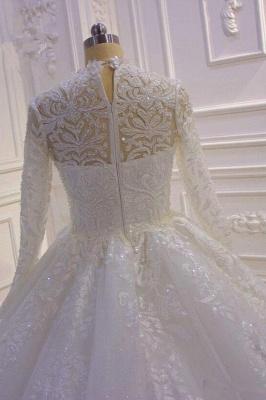Prinzessin Hochzeitskleider mit Glitzer | Brautkleider Spitze Ärmel_4