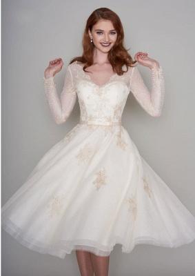 Wunderschöne Hochzeitskleider Kurz mit Ärmel | Spitze Brautkleider A Linie_2