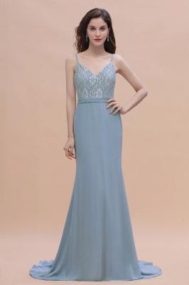 Steel Blue Brautjungfernkleider Lang Chiffon | Schlichtes Abendkleid_1