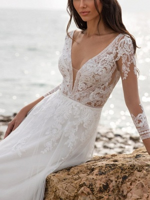Fashion wedding dresses with sleeves | Sheath dresses wedding dresses with lace_2