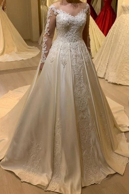 Simple wedding dresses A line | Wedding dresses with sleeves_1