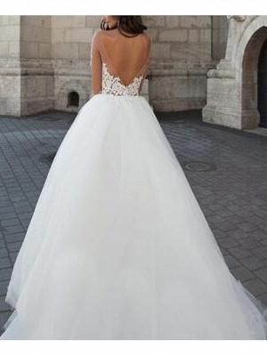 Weiß Brautkleider A Linie | Spitze Hochzeitskleider mit Ärmel_2