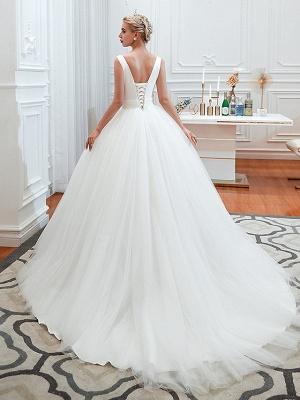 Schlichte Hochzeitskleid V Ausschnitt | Brautmoden A Linie_2