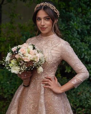 Elegante Brautkleider Kurz | Hochzeitskleider Spitze mit Ärmel_3