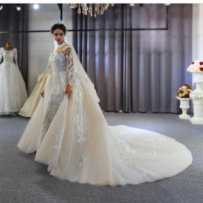 Luxus Hochzeitskleid A linie | Brautkleider Spitzeärmel Günstig_6