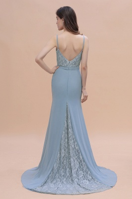 Steel Blue Brautjungfernkleider Lang Chiffon | Schlichtes Abendkleid_3