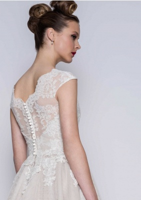 Simple wedding dresses A line | Short wedding dresses with lace_2