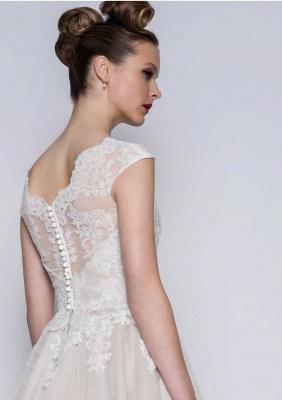 Schlichte Brautkleider A Linie | Kurze Hochzeitskleider mit Spitze_2