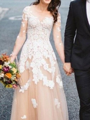 Champagne Wedding Dresses A Line | Wedding dress with sleeves_3