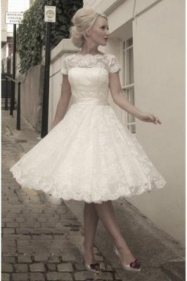 Wunderschöne Brautkleider A linie | Spitze Hochzeitskleider Kurz_1