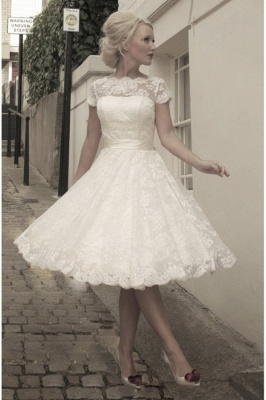 Beautiful wedding dresses A line | Lace wedding dresses short_1
