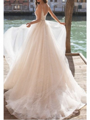 Elegant wedding dresses A line | Wedding dresses V neckline_2