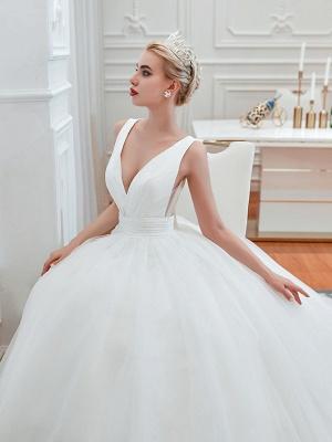 Schlichte Hochzeitskleid V Ausschnitt | Brautmoden A Linie_5