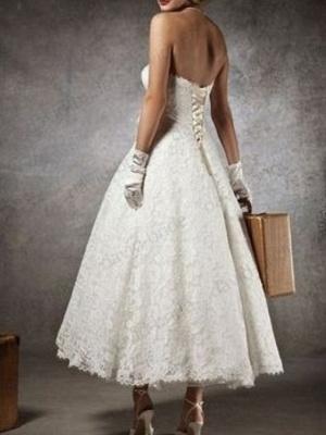 Brautkleid Kurz A linie | Hochzeitskleider mit Spitze_3